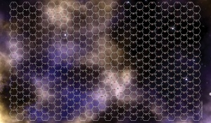 Gaming Mat - Yellow and Purple Space Nebula 30mm HEX