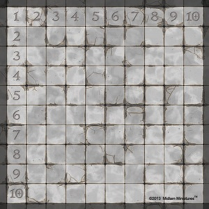 Gaming Mat - Dungeon Tile (Numbered) 25mm Squares 10x10