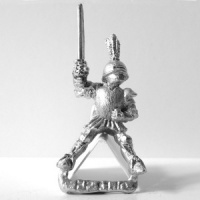 Knight with Plumed Helmet and Raised Sword