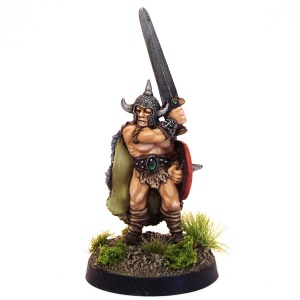 Barbarian with Sword and Round Shield