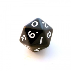 1x Black D10x2(twenty-sided) Die
