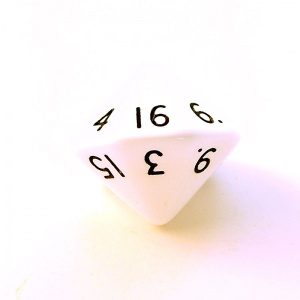 1x White D16 (sixteen sided) Die