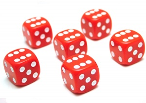 6x Red (six-sided) Dice - 16mm