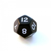 1x Black D12 (twelve-sided) Die