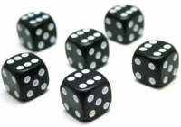 6x Black (six-sided) Dice - 16mm