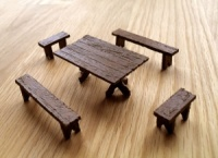 Rectangular Table and Bench Set